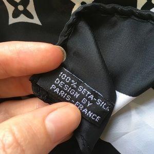 Louis Vuitton Accessories - Authentic Louis Vuitton Silk Scarf Black & White